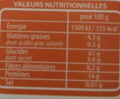 Lustucru quinoa facile quinoa ble lentilles corails carottes - Informations nutritionnelles - fr