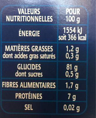 Riz Le long grain d'exception 100% incollable - Informations nutritionnelles - fr