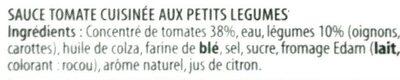 Panzani - Sauce tomate cuisinée aux petits légumes en tube - Ingrediënten - fr