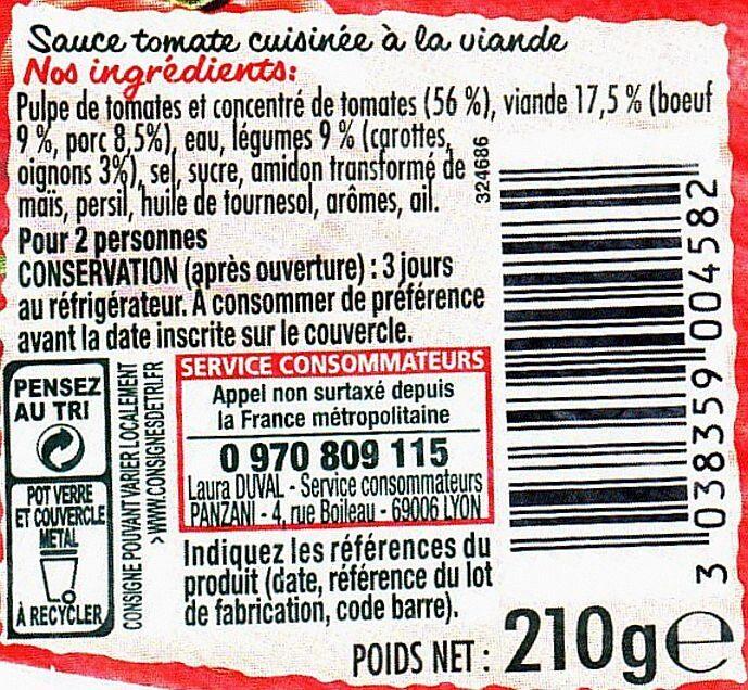 Bolognaise Classique (Sauce tomate cuisinée à la viande sélectionnée) - Ingredients