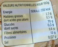 Nouille dentelée - Qualité Pâte Fraîche - Voedingswaarden - fr