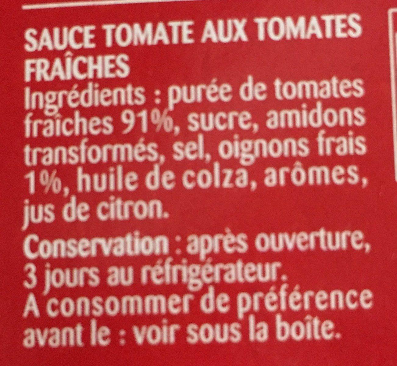 Sauce aux tomates fraiches - Ingrédients