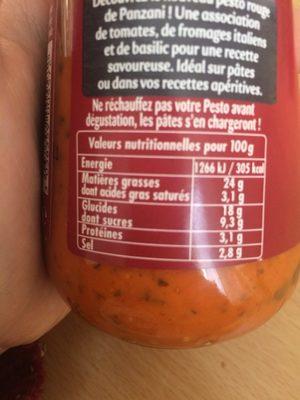Pesto tomates et basilic ciselé - Nutrition facts