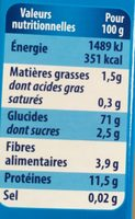Couscous moyen bio - Nährwertangaben