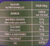 Riz Long Grain Incollable - Nutrition facts - fr