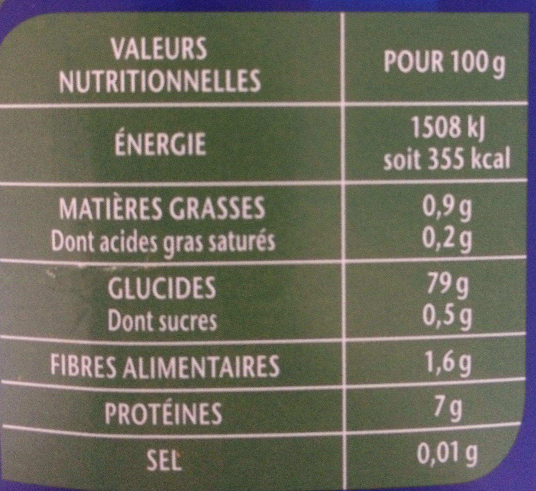 Riz Long Grain Incollable - Informations nutritionnelles - fr