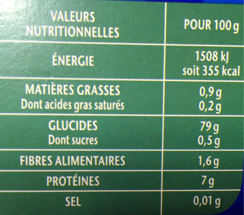 Lustucru riz 10 min sachets 900g (5x180g) - Nutrition facts - fr