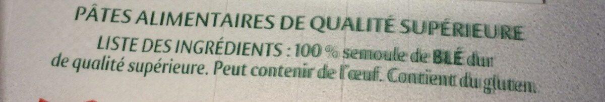 Tortiglioni - Ingrédients - fr
