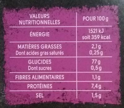 Riz du chef - Nutrition facts