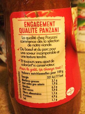 Sauce Panzani Bolognaise Classique - Informations nutritionnelles - fr