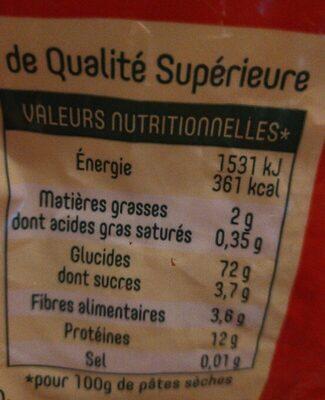Pates panzani coquillettes 3 kg - Informations nutritionnelles - fr