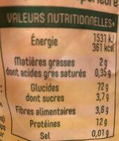 Pates panzani macaroni 3 kg - Informations nutritionnelles - fr