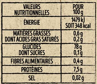 Riz thaï équitable - Valori nutrizionali - fr