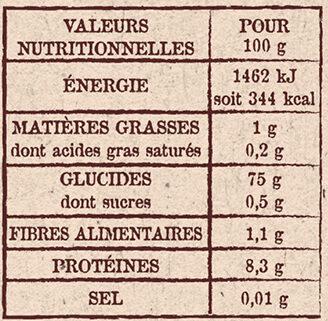 Riz de Camargue Parfumé - Valori nutrizionali - fr