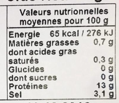 Nos petites crevettes roses - Voedingswaarden - fr
