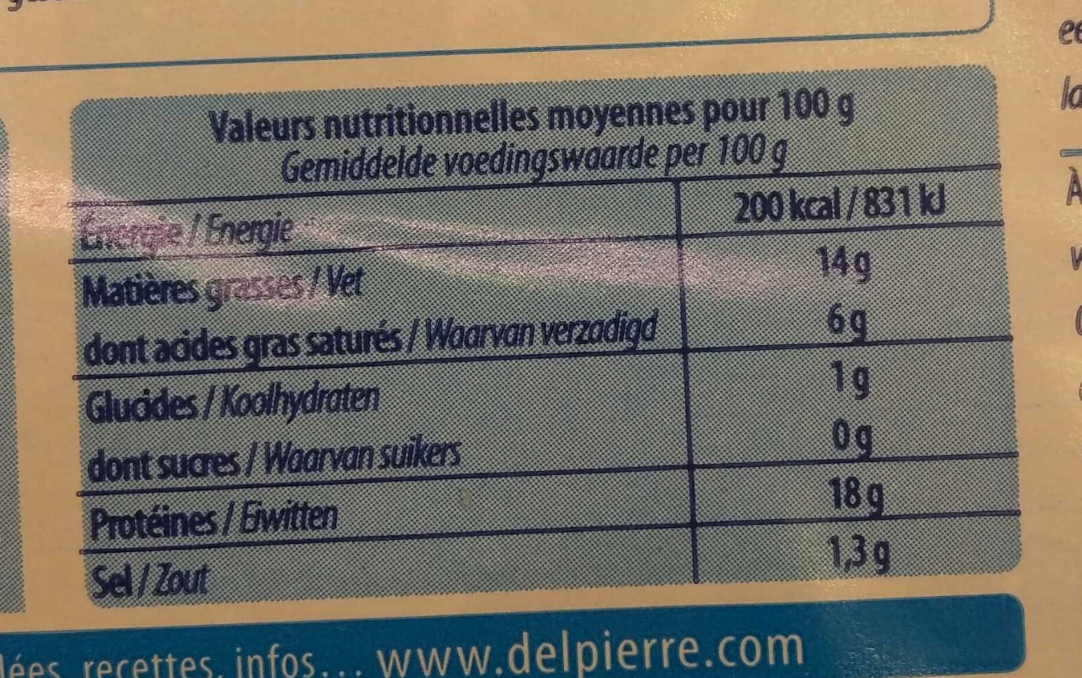 Filet de Saumon - Informations nutritionnelles - fr