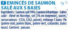 Emincés de saumon 5 baies 140 g - Ingredients - fr
