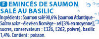 Emincés de saumon basilic140g - Ingrédients