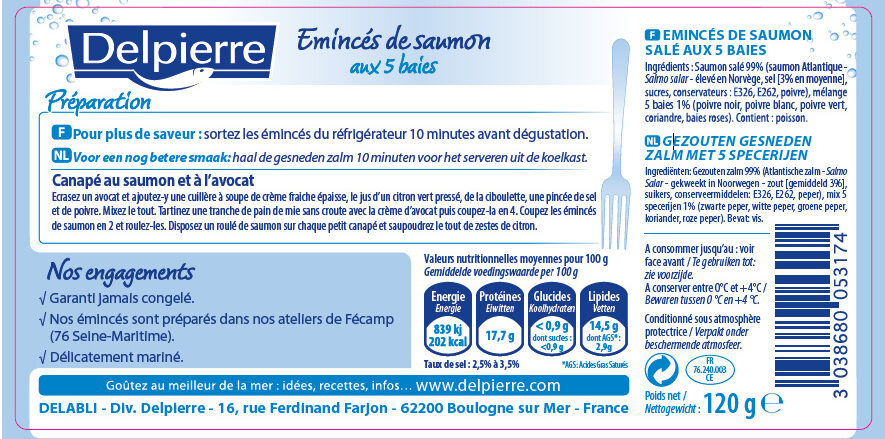 Emincés de saumon aux 5 baies - Nutrition facts - fr
