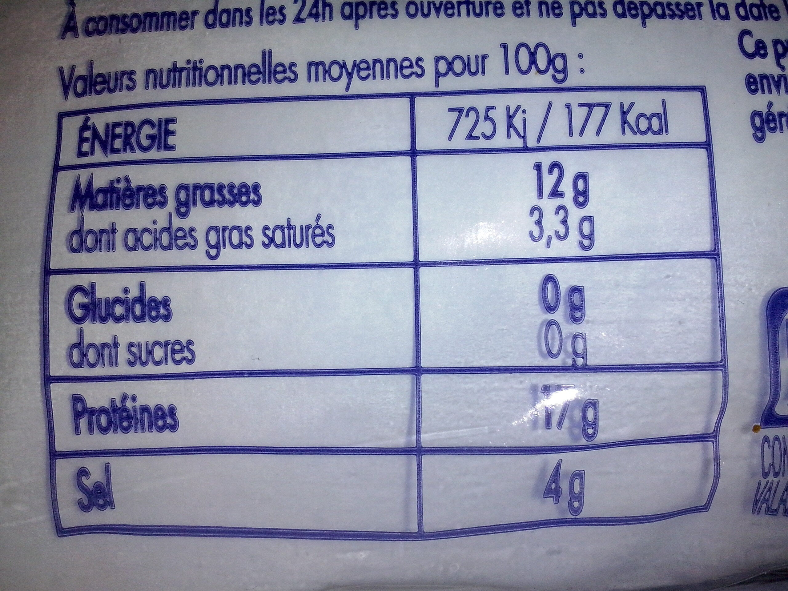 Harengs fumés fumage doux - Informations nutritionnelles - fr