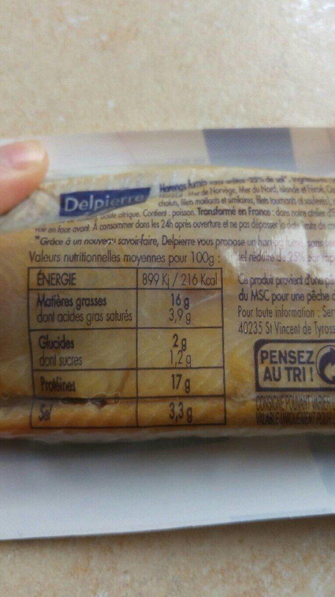 Filets de harengs fumé allégés en sel Delpierre - Valori nutrizionali - fr