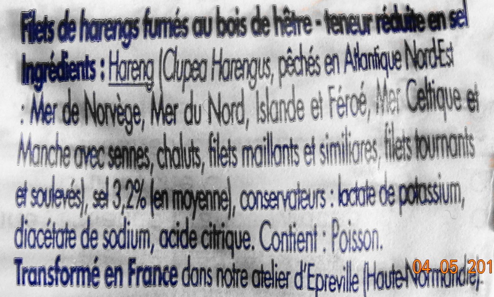 Hareng fumé, sel réduit de 25%, lot de 2 - Ingredients - fr