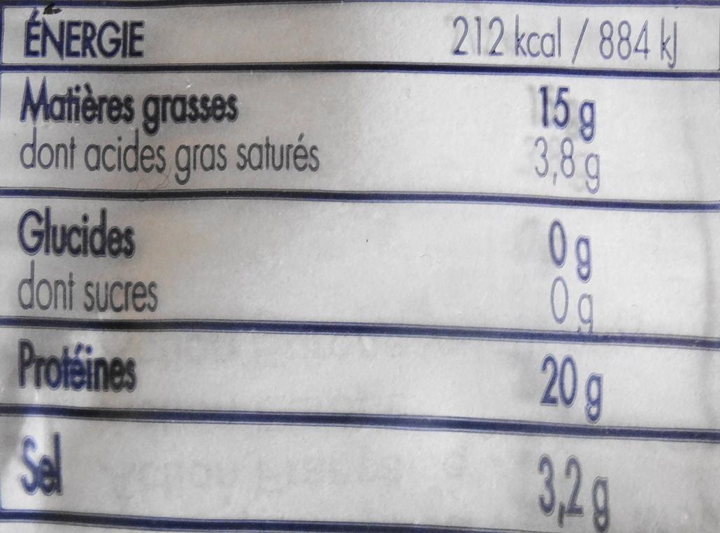 Hareng fumé, sel réduit de 25%, lot de 2 - Nutrition facts - fr