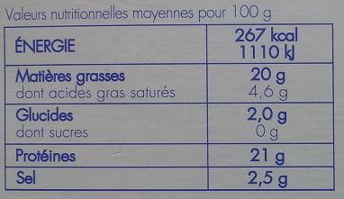 Maquereau fumé nature Delpierre - Nutrition facts - fr