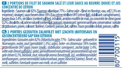 Pavé de saumon sauce beurre citron - Ingrediënten