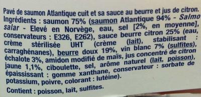 Pavé Minute : Saumon Cuit sauce Beurre Citron - Ingrediënten - fr