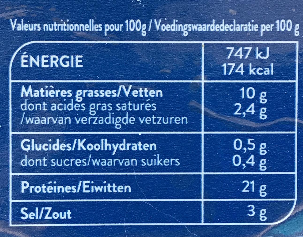 Saumon fumé Norvège - Nutrition facts