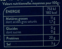 Saumon fumé - Nutrition facts - fr