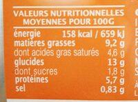 Gratin aux 2 saumons, pommes de terre & petits légumes - Informations nutritionnelles - fr