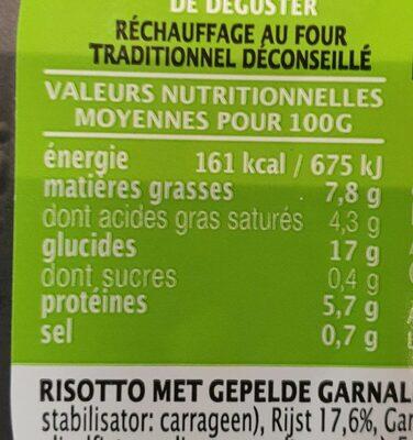 Risotto aux crevettes - Voedingswaarden - fr