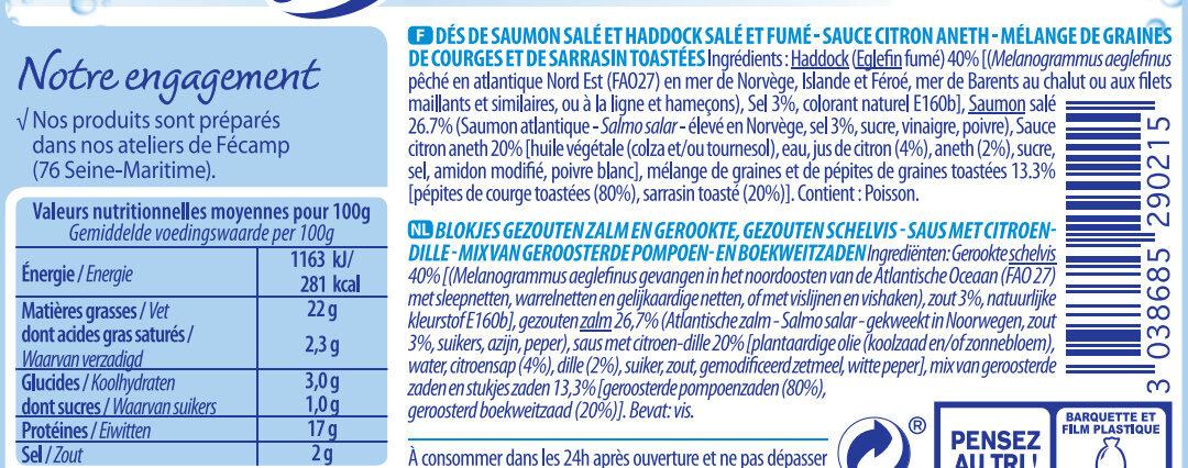 Saumon salé & Haddock, sauce et croustillant - Ingredients - fr