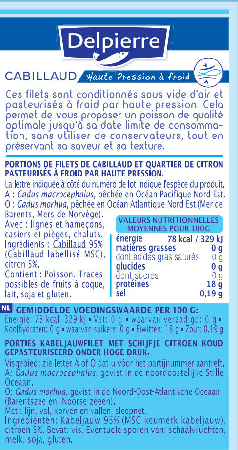 Filets de Cabillaud Delpierre - Nutrition facts