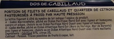 Dos de Cabillaud - Ingredients