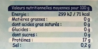 Dos de Cabillaud - Nutrition facts