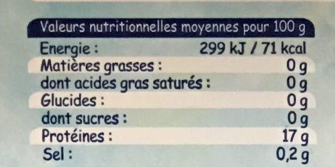 Dos de Cabillaud - Voedingswaarden - fr