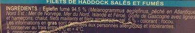 Filets de Haddock salés et fumés - Ingrédients