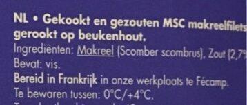 Maquereaux fumes MSC - Ingrediënten - nl