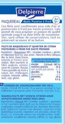 Filets de maquereaux Delpierre pasteurisé à froid par haute pression - Informations nutritionnelles