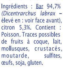 Bar - Ingrediënten - fr