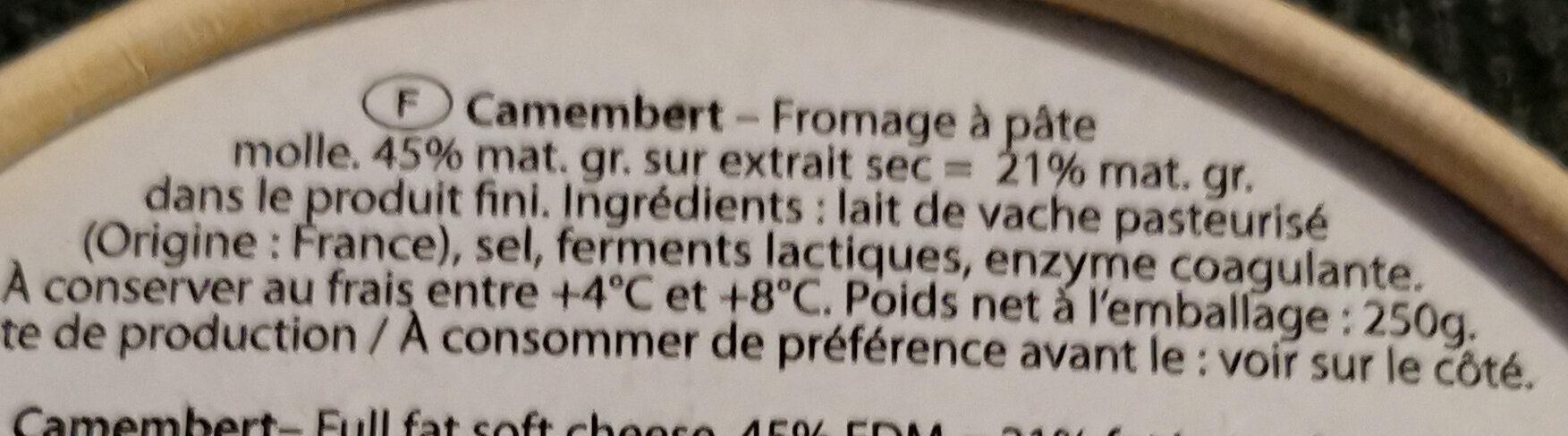 Camembert - Ingrédients - fr