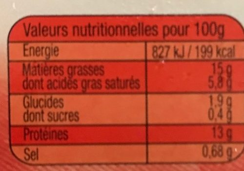 3 Ultra Savoureux 15%MG - Nutrition facts