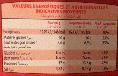 10 steaks hachés halal - Informations nutritionnelles - fr