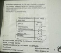 Viande hachée nature 15% MG Socopa - Informations nutritionnelles - fr