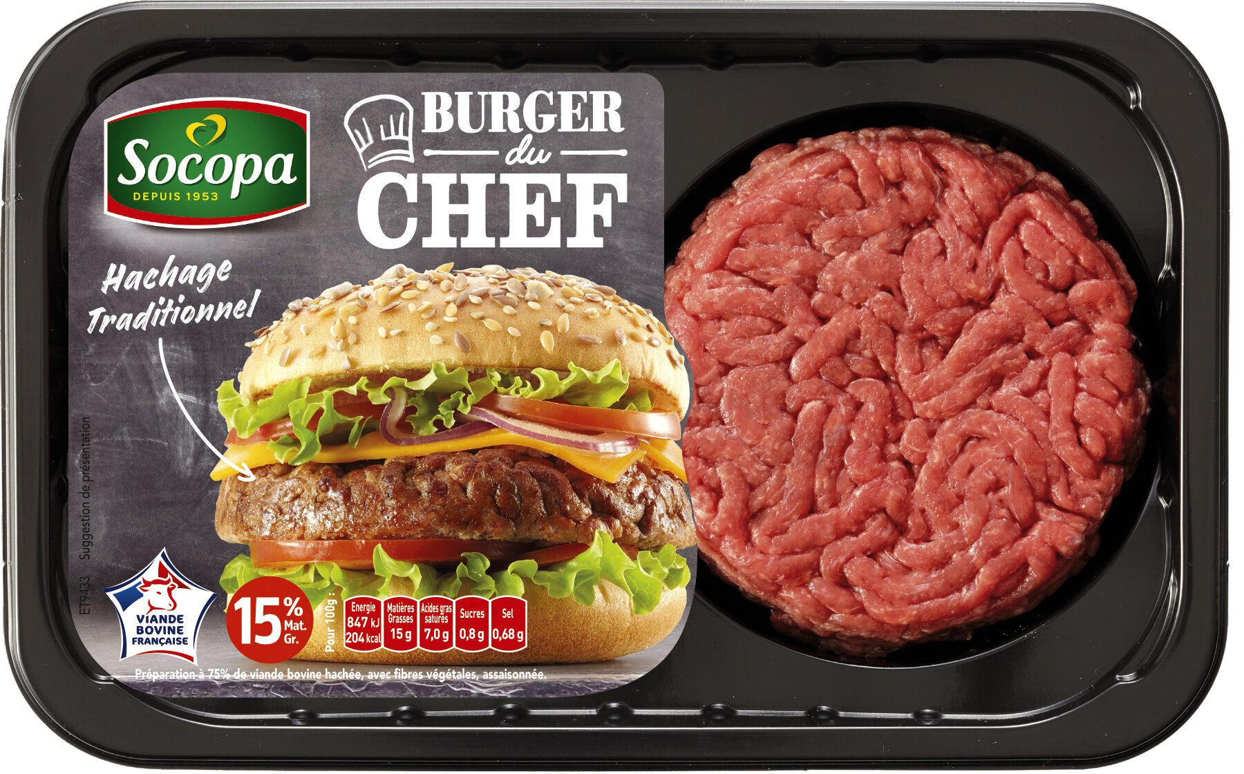 Burger du chef nature 15% Mat.gr - Product - fr
