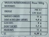 Haché du Chef avec Légumes Cuisinés - Informations nutritionnelles