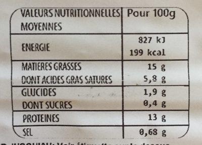 L'Ultra Savoureux à l'oignon - Informations nutritionnelles